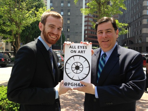 Bill Peduto and Dan Gillman at All Eyes on Art, Katz Plaza, Pittsburgh Pa, May 17, 2013 photographed by Erin Gil Ninehouser