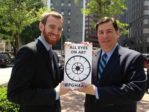Bill Peduto and Dan Gillman at All Eyes on Art, Katz Plaza, Pittsburgh Pa, May 17, 2013 photographed by Erin Gil Ninehouser